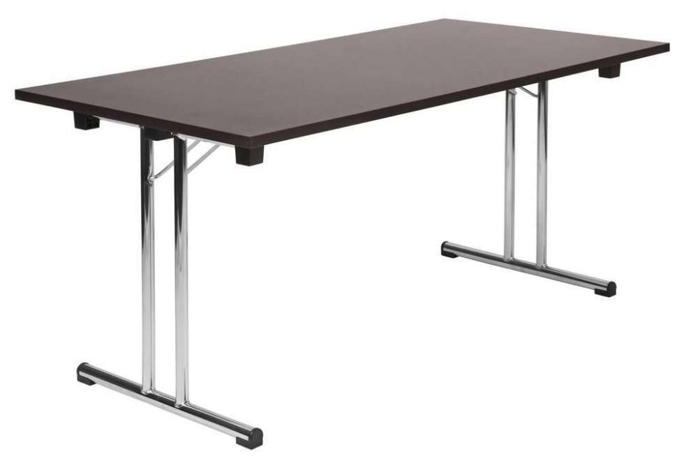 TEKNIK SPACE FOLDING EXECUTIVE Folding Table, Wenge Effect, 25mm Top, Chrome Finish